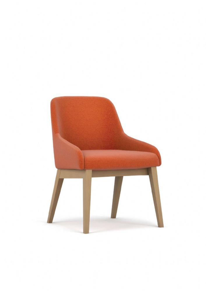 Pledge Flow Fully Upholstered Chair With 4 Wooden Frame Legs